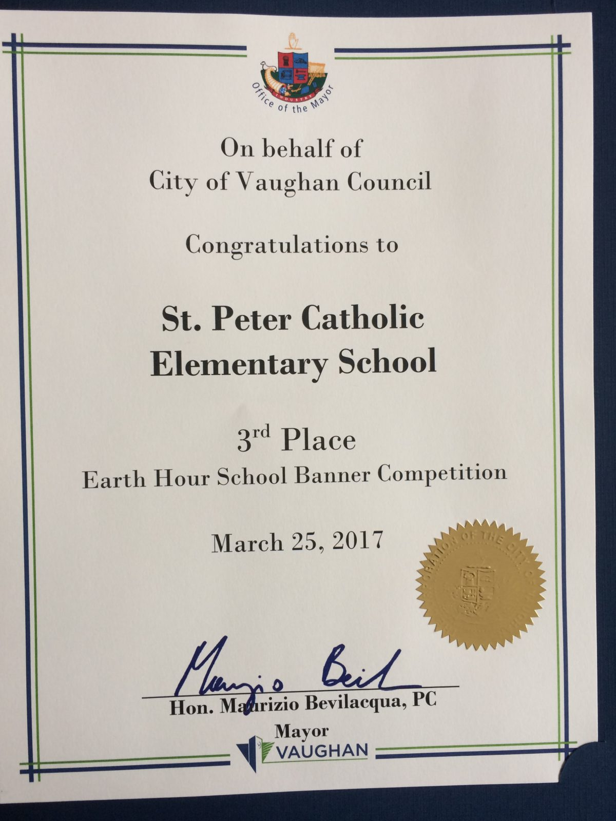 St. Peter Won 3rd Place in Banner Competition!