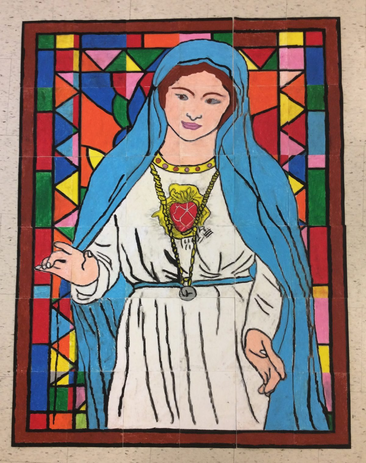 Grade 3 Students create Mother Mary Mural
